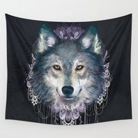 wolf Wall Tapestries featuring Wolf by Laura Graves