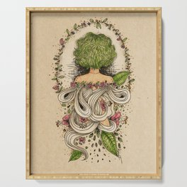 green curly hair girl green leaves floral theme Serving Tray