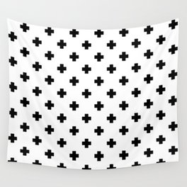Black and White Swiss Cross Pattern Wall Tapestry