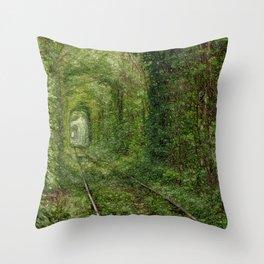 Green tunnel Throw Pillow