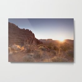 Setting Desert Sun Metal Print