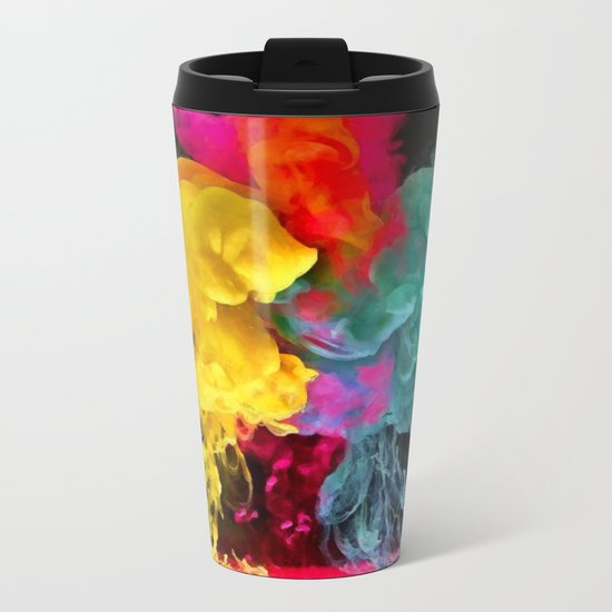Multicolored ink in water Metal Travel Mug