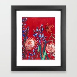 Red and Blue Floral with Peach Proteas Framed Art Print