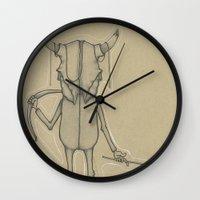 animal skull Wall Clocks featuring Bull Skull Guy Spirit Animal by Drawn by Lex