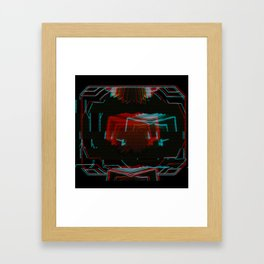 Neon Bible Glitch Framed Art Print