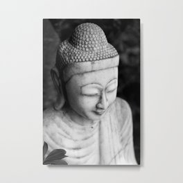 Black and White Buddha Statue Metal Print