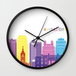 Kansas city skyline pop Wall Clock