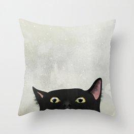 Curious Black Cat Throw Pillow