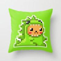 8bit Throw Pillows featuring 8bit Dinobear by Bear Picnic