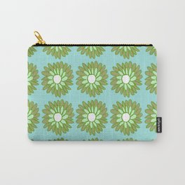 Green Flowers on Pale Turquoise Pattern Carry-All Pouch
