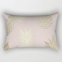 Hawaii Prints, Cute Pineapple, Pink and Gold, Abstract Art Rectangular Pillow