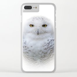 Dreamy Encounter with a Serene Snowy Owl Clear iPhone Case