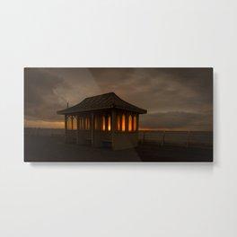 Pier Shelter Sunrise Metal Print