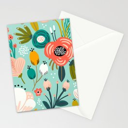 Mid-Century Modern Floral Print With Trendy Leaves Stationery Cards
