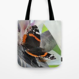 Red Admiral on a White Bird of Paradise Bloom Tote Bag