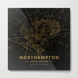 Northampton, United Kingdom - Gold Metal Print