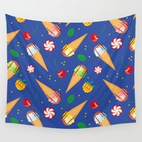 ice cream Wall Tapestries featuring Ice cream by LaDa