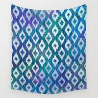ikat Wall Tapestries featuring Jewel Ikat Pattern by Noonday Design