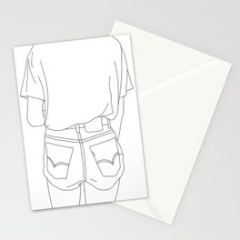 Fashion illustration line drawing - Cara Stationery Cards