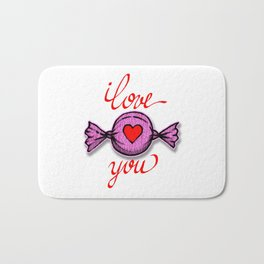 I love you (pink) written in red Bath Mat