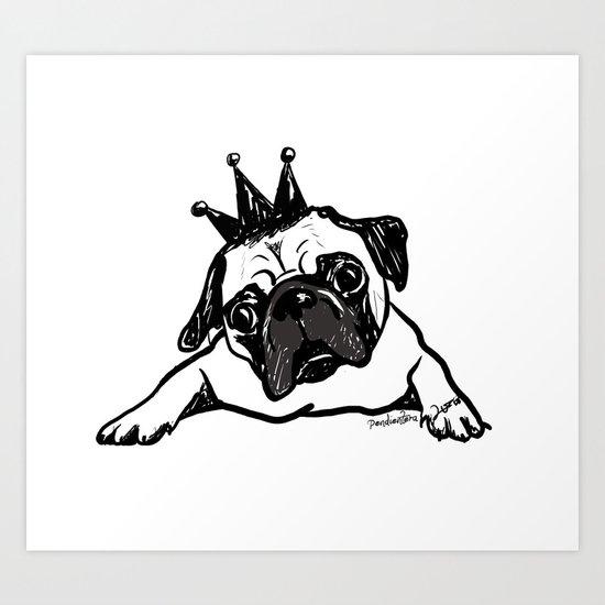 King Pug Art Print