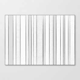 black and white pattern, dots and stripes - striped design, geometric Canvas Print