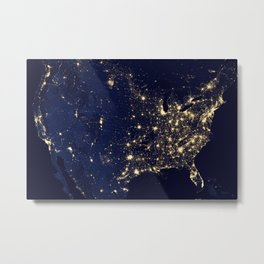 City Lights of the United States - NASA Earth Observatory Metal Print