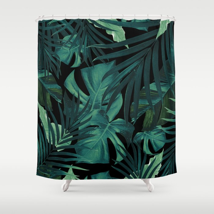 Tropical Jungle Night Leaves Pattern 1 Decor Art Society6 Shower