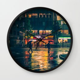 Wet street of Shinjuku Wall Clock