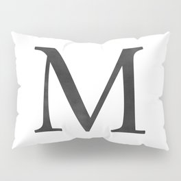 Letter M Initial Monogram Black and White Pillow Sham