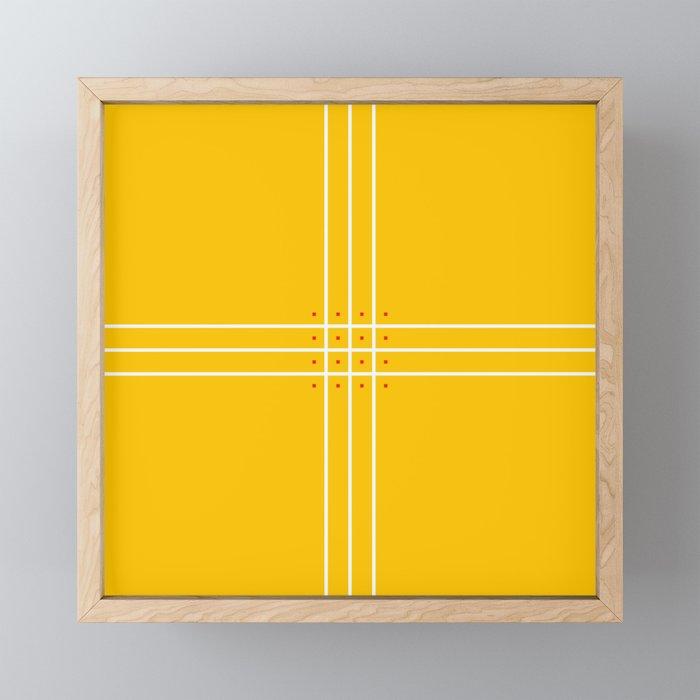Fine Lined Cross on Yellow Framed Mini Art Print