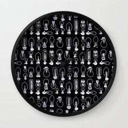 Bulbs in Black and white Wall Clock