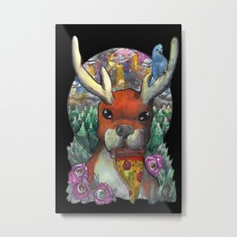 deer eating pizza Metal Print