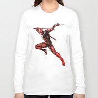xmen Long Sleeve T-shirts featuring DEADPOOL PAINT SWIRL marvel xmen x-men film movie by Radiopeach