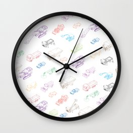 pattern with isometric icons of special equipment and machines Wall Clock