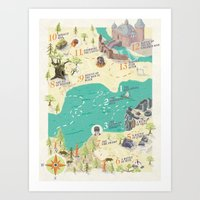 princess bride Art Prints featuring Princess Bride Discovery Map by Wattle&Daub