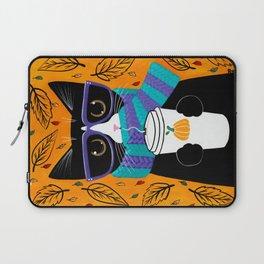 Tuxedo Autumn Coffee Cat Laptop Sleeve