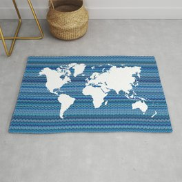 Wavy World Map Blue Rug