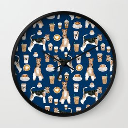 Wire Fox Terrier coffee dog pattern dog lover gifts for dog person dog breeds pet friendly Wall Clock