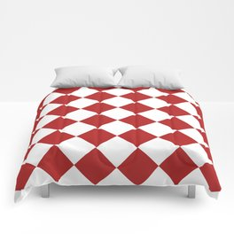 Large Diamonds - White and Firebrick Red Comforters