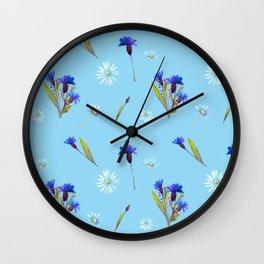 Chamomile and Cornflower pattern Wall Clock