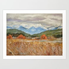 #51-Cattails and Mountains Art Print