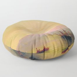Ships at anchor by Ivan Aivazovsky Floor Pillow