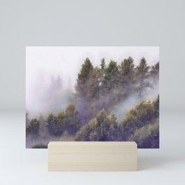 Foggy forest watercolor painting #2 Mini Art Print