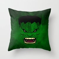 monster inc Throw Pillows featuring Monster Green by Inara