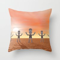 zombies Throw Pillows featuring Zombies by Phil Perkins