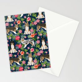 Sheltie shetland sheepdog hawaii floral hibiscus flowers pattern dog breed pet friendly Stationery Cards