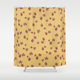 Peppermint Candy in Yellow Shower Curtain