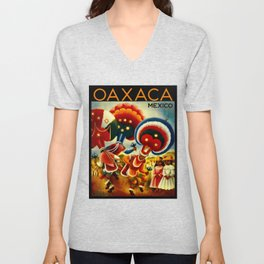 Oaxaca Mexico Vintage Travel Unisex V-Neck