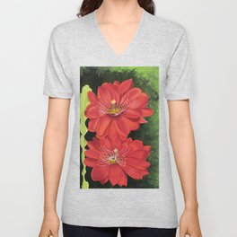 Cactus red flower blooming in Spring Unisex V-Neck